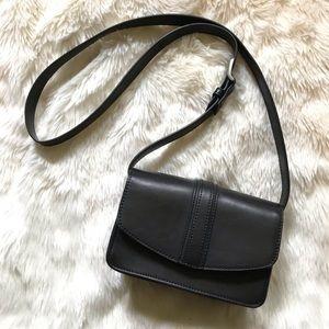 UO black leather satchel saddle bag